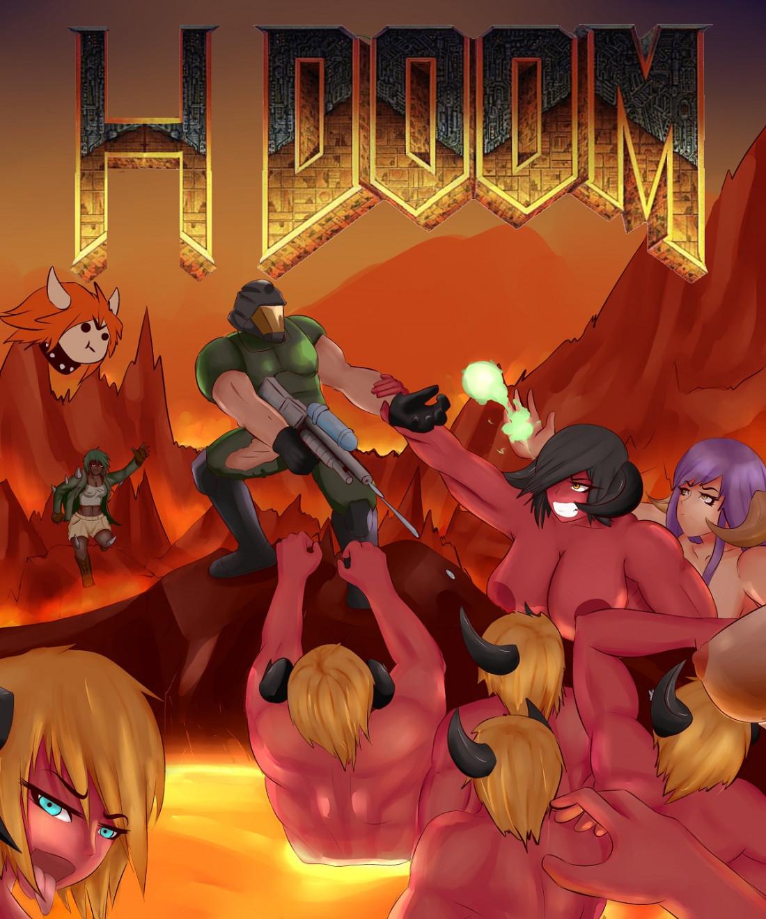 Секс комиксы - Подборка по Doom Большие сиськи, Большие члены, По играм